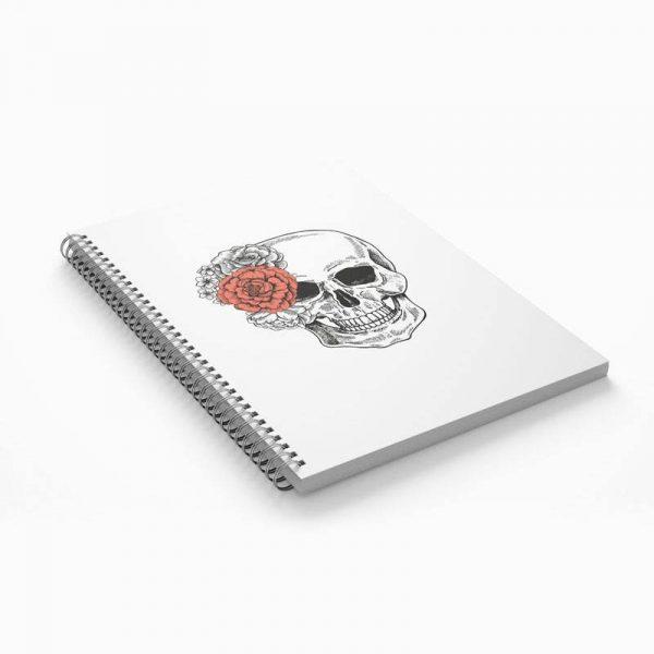 Notes z czaszką i kwiatami