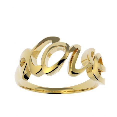 Złoty pierścionek Love