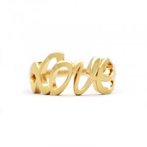 Pozłacany pierścionek Love