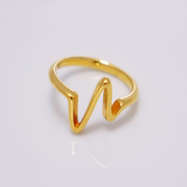 Pozłacany pierścionek Linia życia