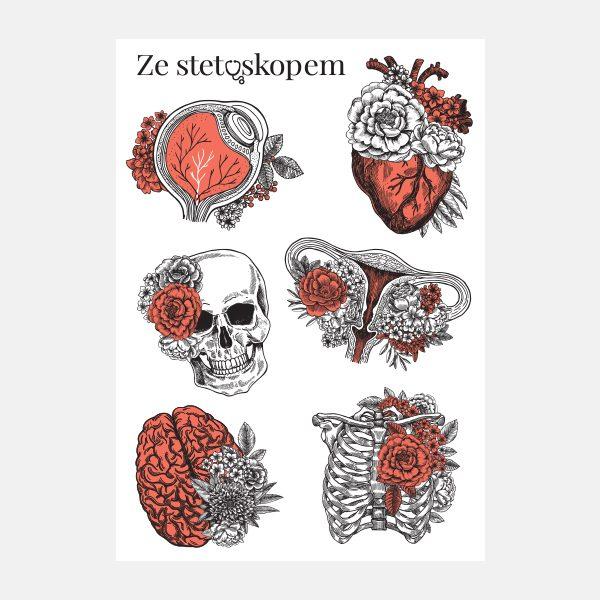 Naklejki anatomiczne z kwiatami