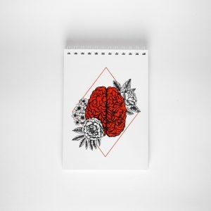 NOWY kieszonkowy notes z mózgiem
