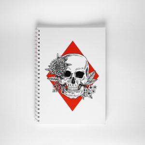 NOWY Notes z czaszką i kwiatami