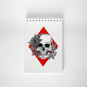 NOWY kieszonkowy notes z czaszką i kwiatami