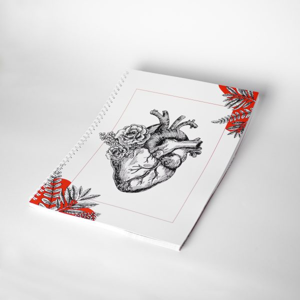 NOWY Duży notes z sercem A4